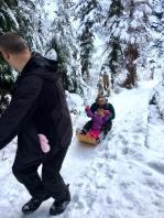 aunty sledding